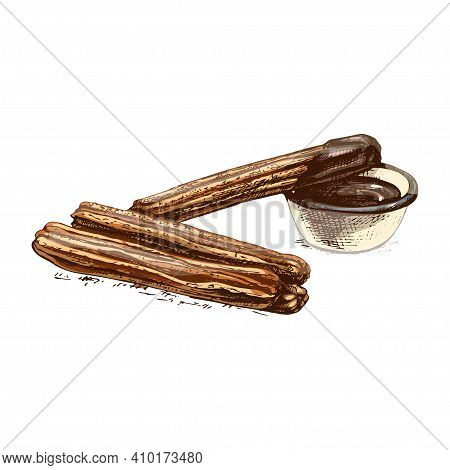 Churros And Bowl With Hot Chocolate. Vector Vintage Hatching Color Illustration. Isolated On White B