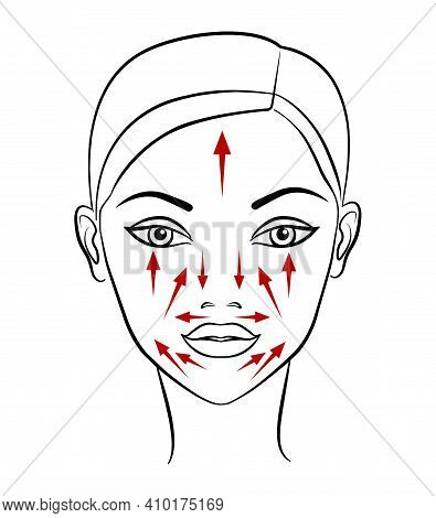 Chinese Massage With Gua Sha Stones. Lines Of Massage On The Face, Illustration