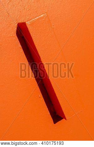 Iron Door Handle In Orange. Iron Door