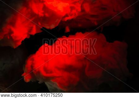Abstraction Background, Red Clouds From Cotton Wool. Sky, Red