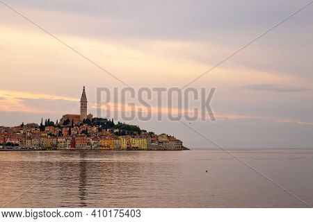 Rovinj. Town Of Rovinj Waterfront Sunset Sky View, Istria Region Of Croatia