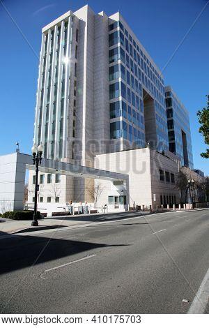 Santa Ana, California - USA - February 25, 2021: Ronald Reagan Federal Building and Courthouse in Santa Ana California.A ten-story United States federal building and courthouse named in 1998.