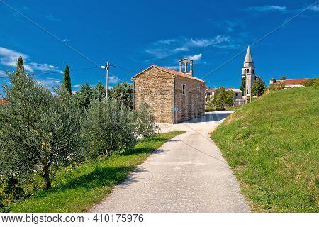 Village Of Vrh In Istrian Inland Church And Street View, Istria Region Of Croatia
