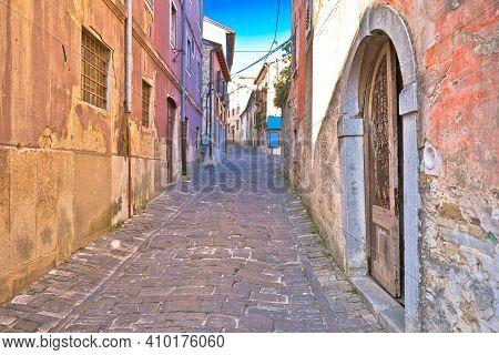 Motovun. Paved Colorful Street Of Old Town Of Motovun, Istria Region Of Croatia