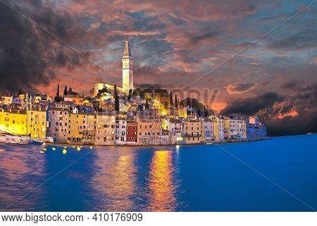 Rovinj. Town Of Rovinj Waterfront Dramatic Sky View, Istria Region Of Croatia