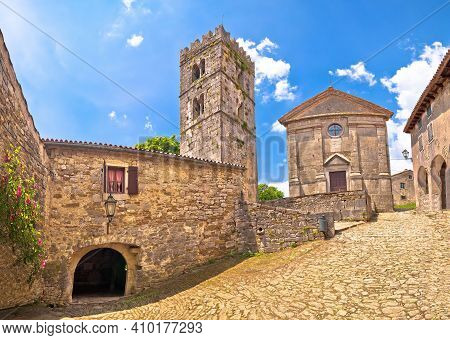 Hum. Historic Stone Square And Church In Smallest Town In The World Hum, Istria Region Of Croatia
