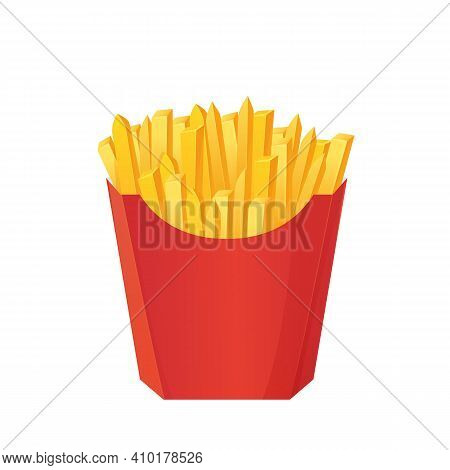 Realistic French Fries Box. Fastfood Concept. Can Be Used As Mockup. Stock Vector Illustration In Ca