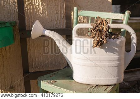 A White Watering Can On A Green Chair And A Dried Flower. Watering Flowers. Garden Care