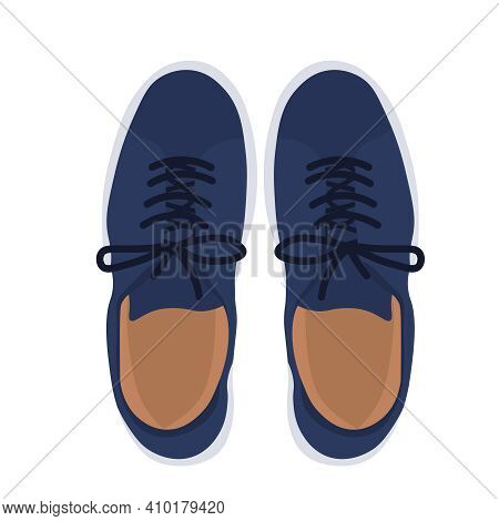 Men's Shoes Vector Stock Illustration. A Pair Of Sneakers Poster For A Teenager. A Pair Of Blue Leat