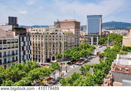 View Of Paseo De Gracia Street From Top Of Casa Mila House, Barcelona, Spain