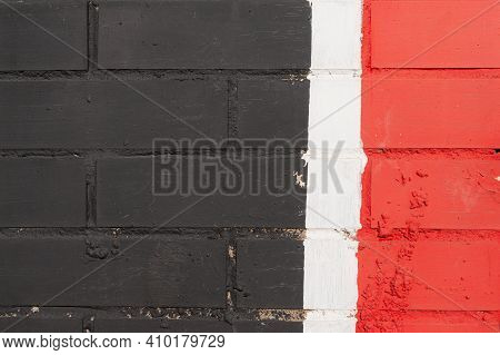 Background Texture. Brick Wall. The Black. White Red