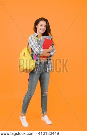 Welcome School. Pretty Student Back To School. Happy Girl Ready For School Yellow Background. Septem
