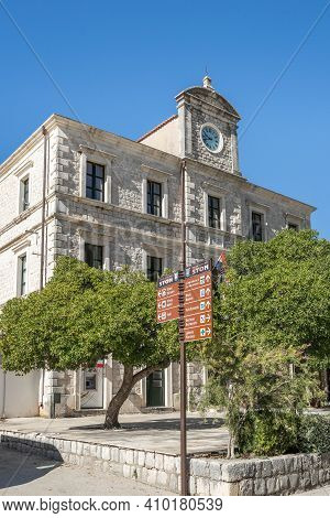 Ston, Croatia - Aug 20, 2020: Old Town City Hall Building In Old Town In Summer Morning