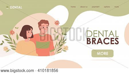 Dental Braces Vector Flat Landing Page Template With Text Space. Young Handsome Man And Woman Wearin