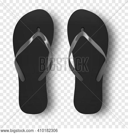 Beach Slippers Vector Design Template Of Summer Beach Flip Flops. Realistic 3d Blank Mockup. Monochr