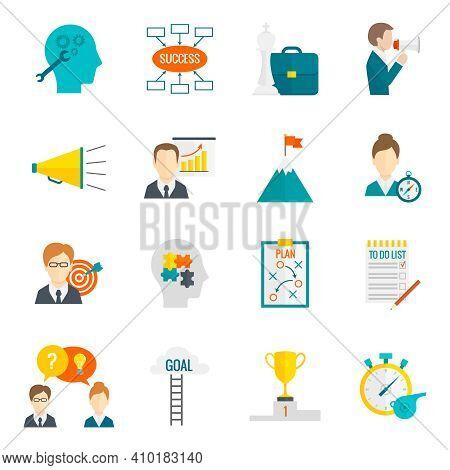 Coaching Business Leadership Management And Teamwork Motivation Icon Flat Set Isolated Vector Illust