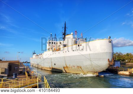 A Scene Of Lake Freighter Moving Through The Welland Canal In Canada