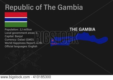 Highly Detailed Gambia Map With Flag, Capital And Small Map Of The World