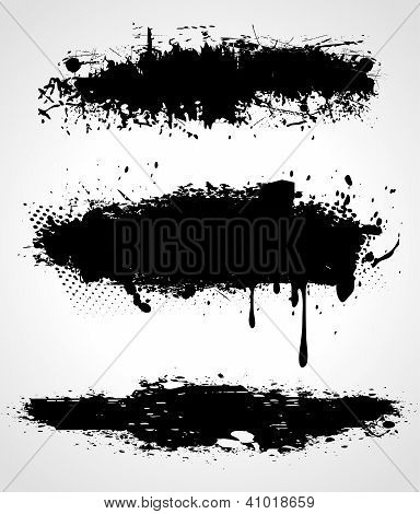 Three Vector Grunge Banners On White