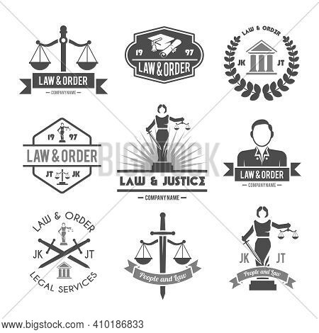 Law Order And Crime Preventing Lady Justice Symbols Collection Black Graphic Labels Pictograms Set I