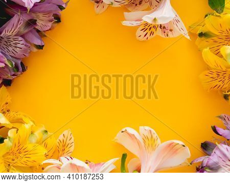 Bright Yellow Background With Border Of Fresh Alstroemeria Flowers. Seasons Greetings Card With Copy