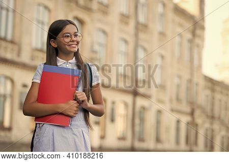 Allow Yourself To Be Beginner. Happy Child In Glasses Hold Books. Back To School Essentials. School