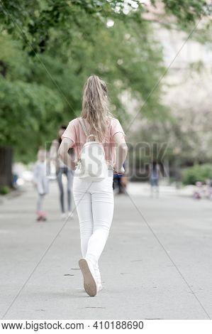 Girl Carefree Child. Kid Long Hair Enjoy Walking. Summer Holidays. Little Child Enjoy Walk. Health,