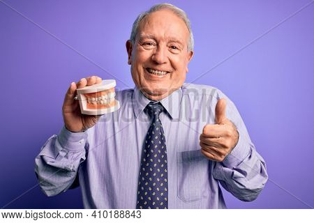 Grey haired senior man holding orthodontic prosthesis denture over purple background happy with big smile doing ok sign, thumb up with fingers, excellent sign