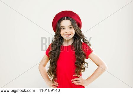 Ambitious And Beautiful. Summer Fashion And Beauty. Childhood. Hairdresser Salon. Happy Girl With Lo