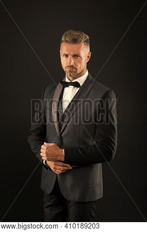 Handsome Groom Man Wear Tuxedo Black Background, Wedding Day Concept.