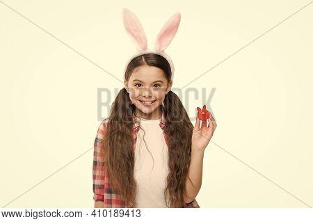 Cute Little Girl Wearing Bunny Ears Headband. Looking Pretty In Easter Bunny Attire. Good Vibes. Ado