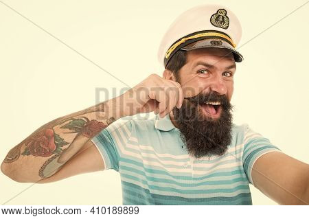 Funny Sailor With Cap And Shirt. Navy Day. Tourist On Summer Vacation. Bearded Man In Captain Cap Ha