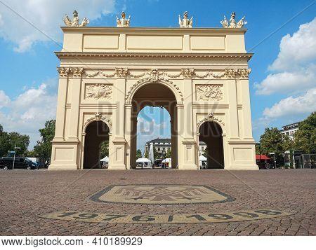Famous Brandenburg Tor In Potsdam Old City Center, Germany Landmarks