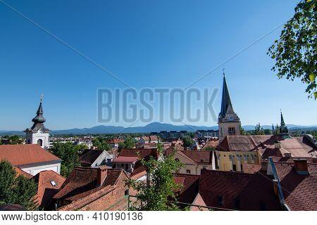 Ljubljana Panorama With Mountains Behind During Summer Sunny Day, Ljubljana, Slovenia