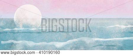 Boho Sea Beach With Waves With Sun Banner. Abstract Background. Bohemian Printable Wall Art, Boho Po