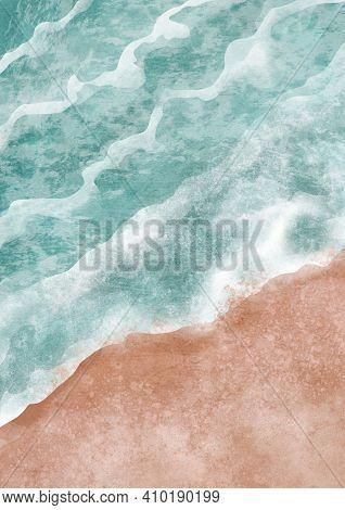 Boho Sea Beach With Waves Print. Abstract Background. Bohemian Printable Wall Art, Boho Poster, Past