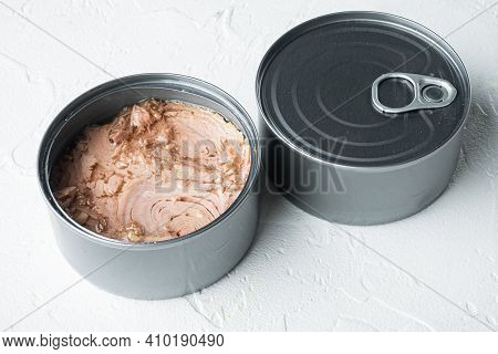 Canned Italian Tuna Set, In Tin Can, On White Background
