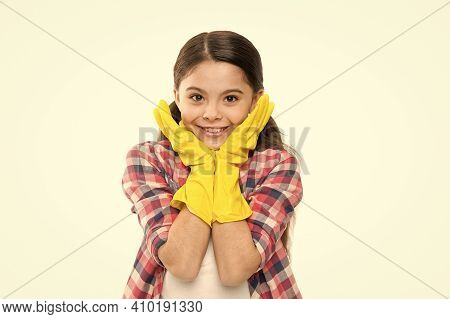 Regular Clean Up. Kid Clean House In Latex Gloves. Yellow Gloves For Cleaning The House. Housework C