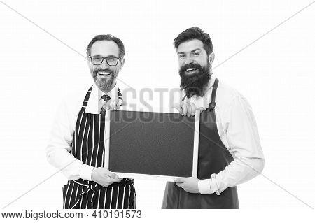 Blackboard. Cafe And Restaurant Opening. Bearded Men With Blackboard, Copy Space. Menu Planning. Hap