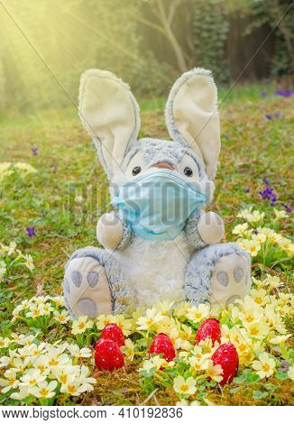 Easter 2021 Concept During Coronavirus Covid-19 Pandemic With Easter Bunny Wearing A Medical Mask An