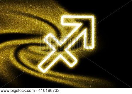Sagittarius Zodiac Sign, Gold Glitter, Horoscope Astrology Background, Sagittarius Horoscope Symbol,