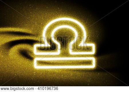 Libra Zodiac Sign, Gold Glitter, Horoscope Astrology Background, Libra Horoscope Symbol, On Dark Bac