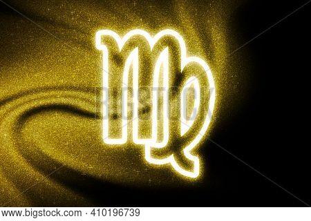 Virgo Zodiac Sign, Gold Glitter, Horoscope Astrology Background, Virgo Horoscope Symbol, On Dark Bac