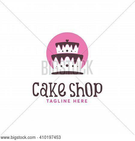 Cake Shop Logo Designs Vector, Sweet Swoop Logo Designs Vector, Pink Cake Logo Template