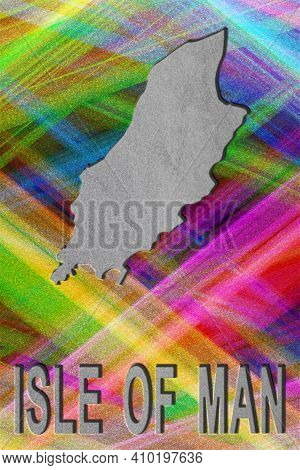 Map Of Isle Of Man, Colorful Background, Copy Space