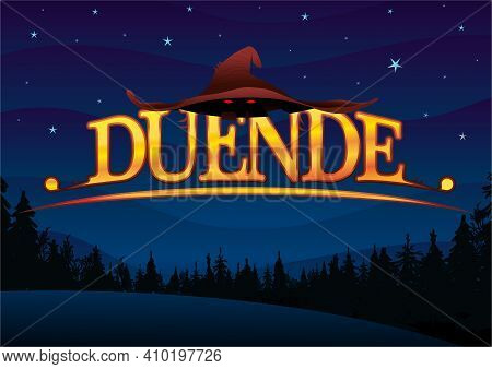 Word Duende - Leprechaun In Spanish Letters In Yellow With A Leprechaun Hat On A Dark Blue Sky With
