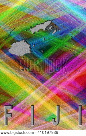 Map Of Fiji, Colorful Background, Copy Space
