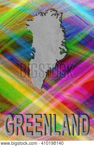 Map Of Greenland, Colorful Background, Copy Space