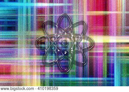 Atom Symbol, Atom Icon, Science, Colorful Checkered Background