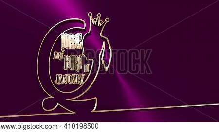Vintage Queen Silhouette. Medieval Queen Profile. Elegant Silhouette Of A Female Head. Queens Are Bo